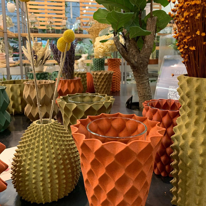 Vasi di design e fiori disidratati e stabilizzati